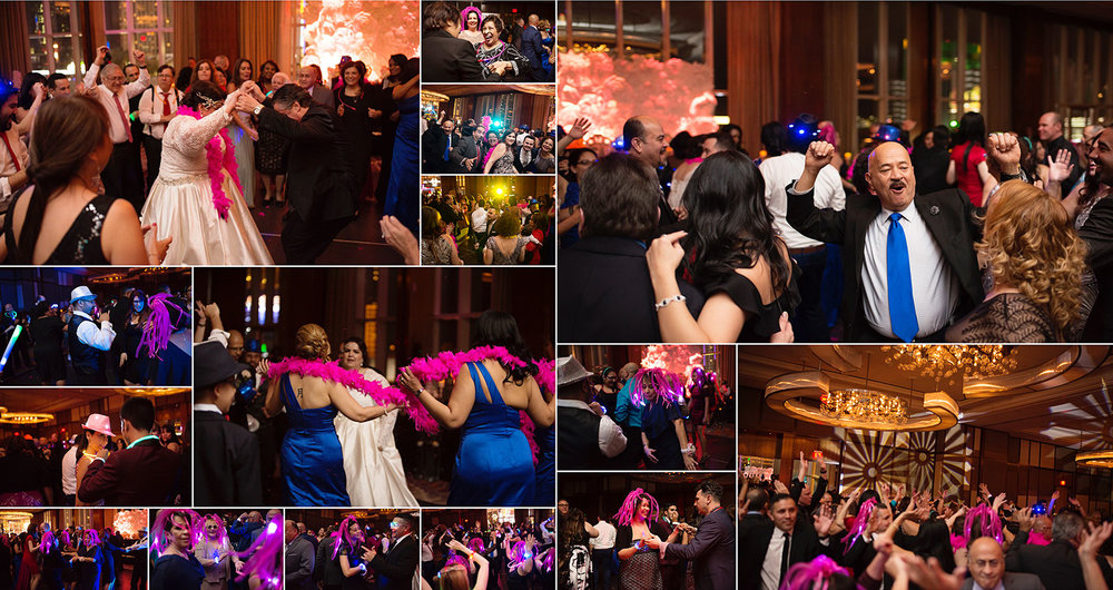Dance party at reception at Mandarin Oriental.  Las Vegas Wedding Planner Andrea Eppolito.  Image by AltF Photography.   Floral and Decor by Destinations by Design. Luxury Wedding at Mandarin Oriental.