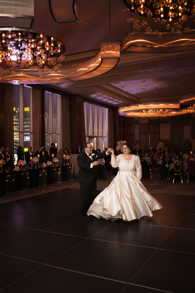 First dance.   Las Vegas Wedding Planner Andrea Eppolito.  Image by AltF Photography.   Floral and Decor by Destinations by Design. Luxury Wedding at Mandarin Oriental.