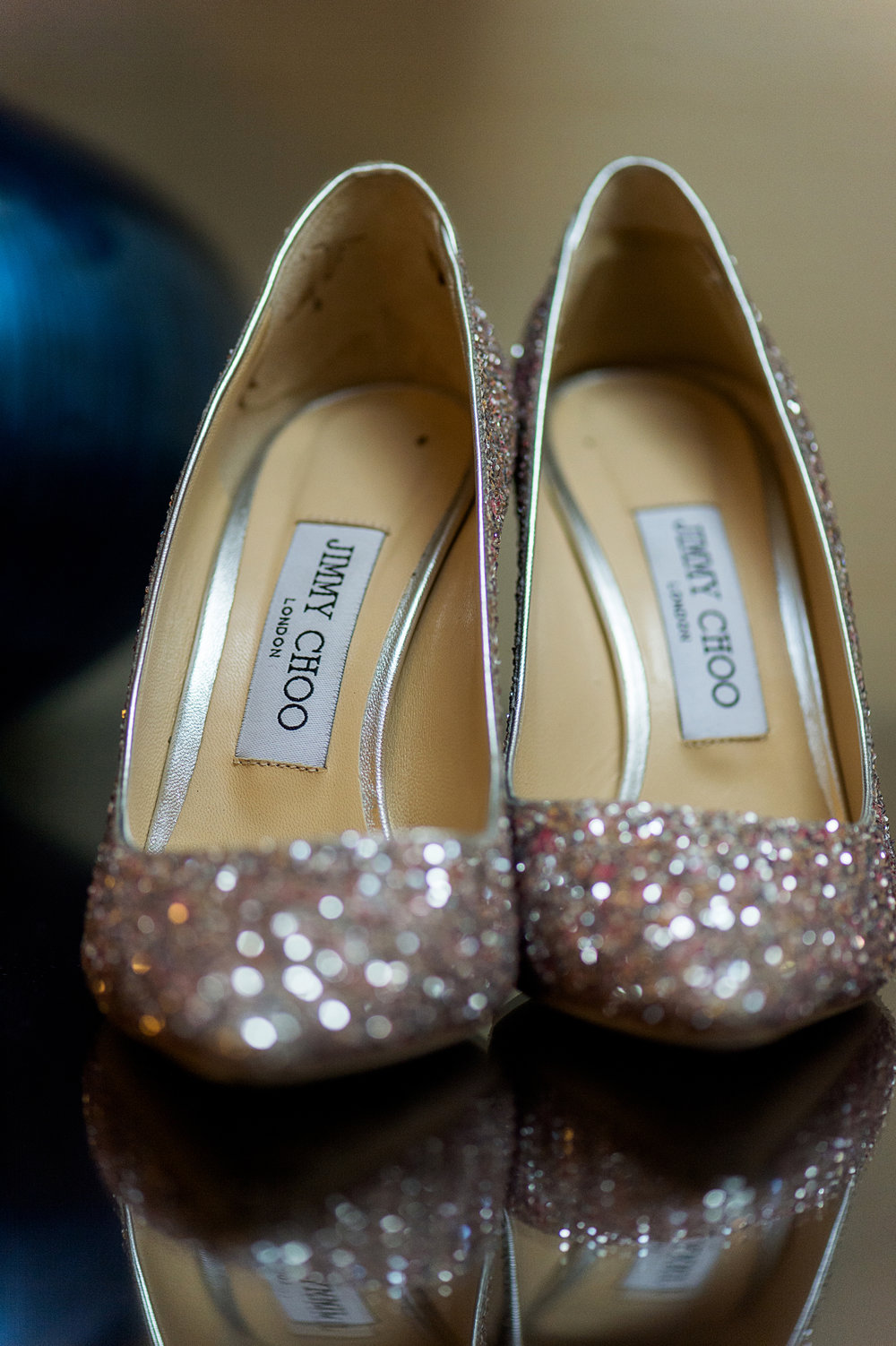 Sparkling wedding shoes by Jimmy Choo.  Las Vegas Wedding Planner Andrea Eppolito.  Photo by Studio JK.