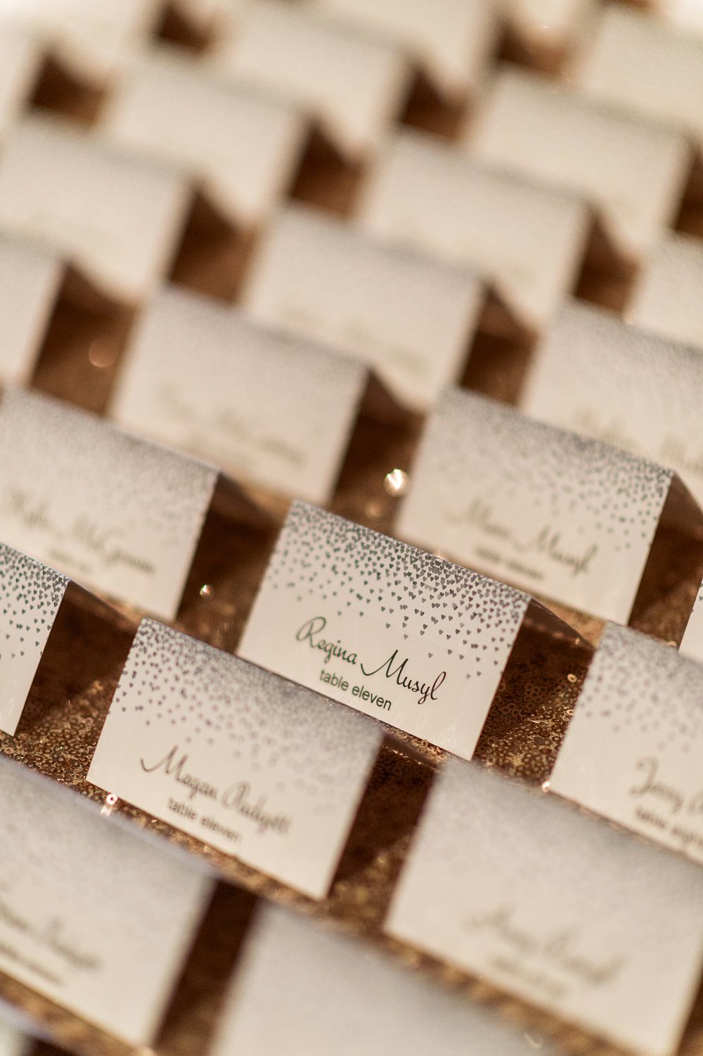 Escort Cards featured little bubbles....Just like champagne. Las Vegas Wedding Planner Andrea Eppolito.  Photo by Studio JK.