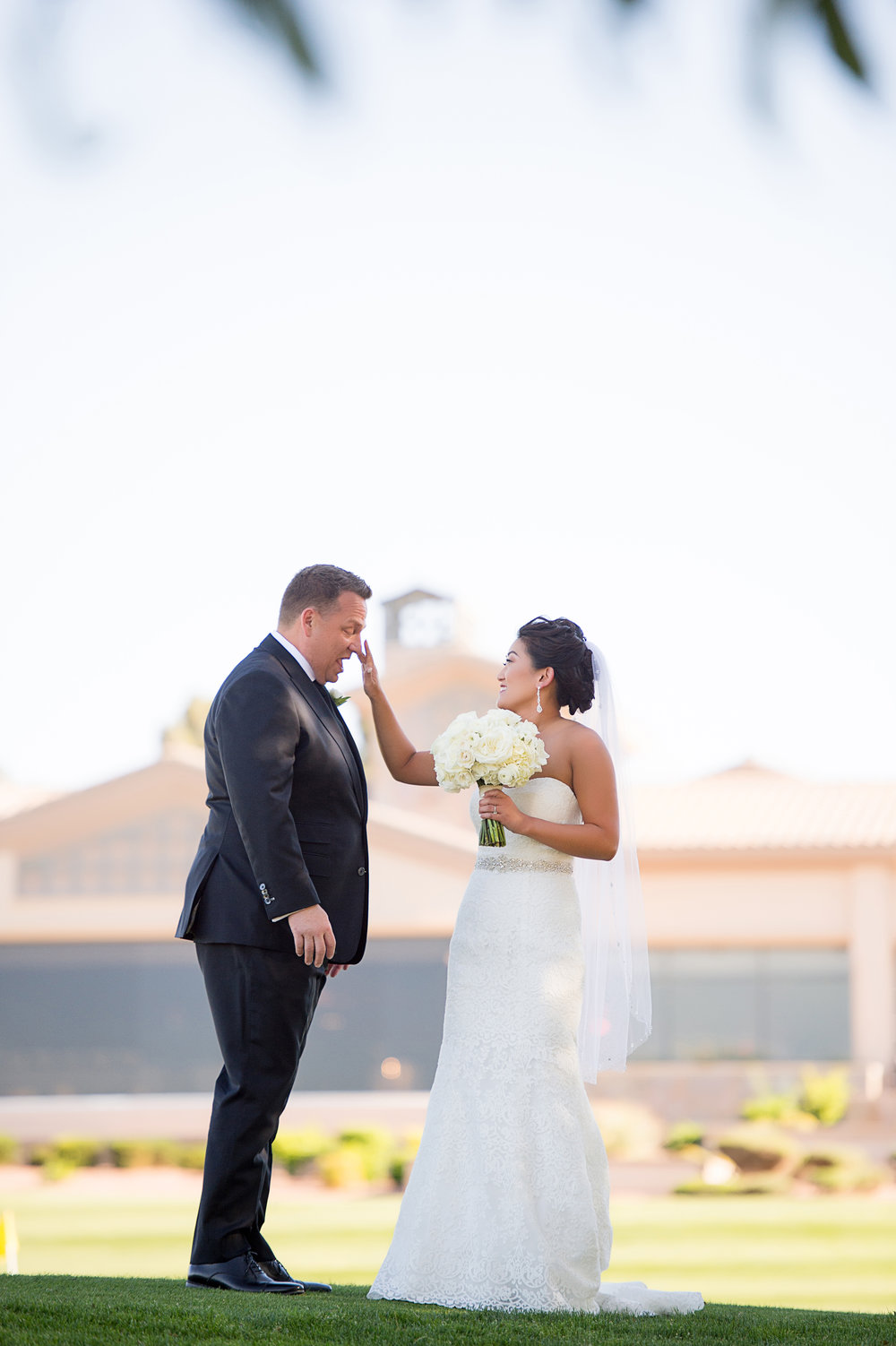 First Look on a golf course. Las Vegas Wedding Planner Andrea Eppolito.  Photo by Studio JK.