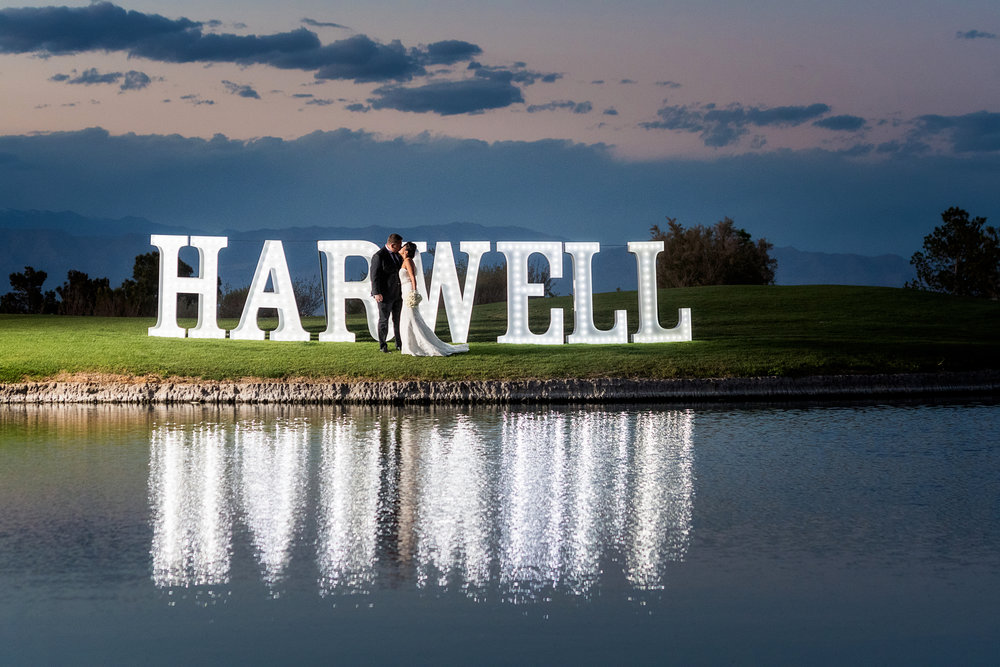 The couple's last name in lights.  Las Vegas Wedding Planner Andrea Eppolito.  Photo by Studio JK.