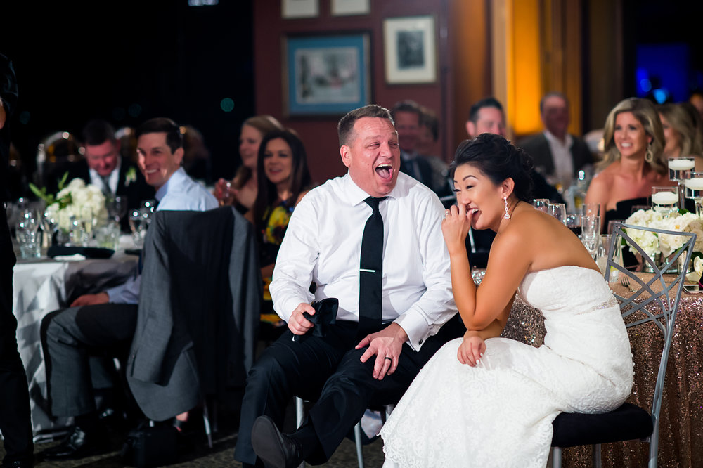 Reactions to the best man's toast. Las Vegas Wedding Planner Andrea Eppolito.  Photo by Studio JK.
