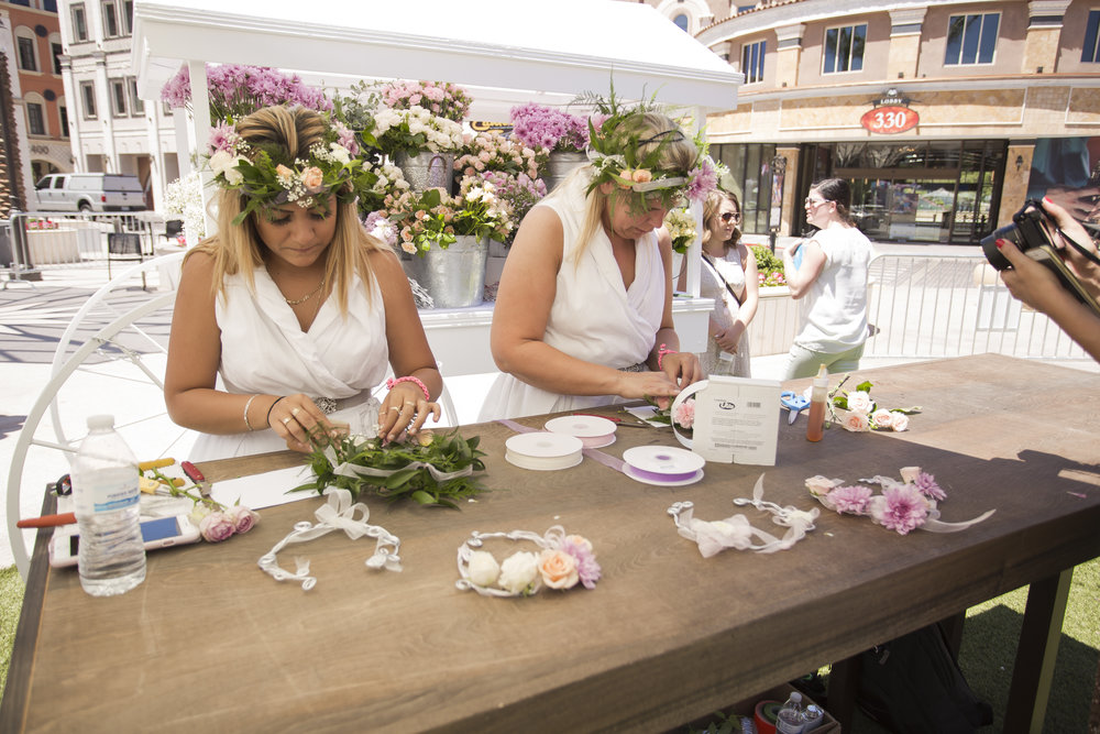 Flower crowns in the making.  Celebrity Event Planner Andrea Eppolito.  Floral and Rentals by Destinations by Design. Photo by Triple Vision Studios.