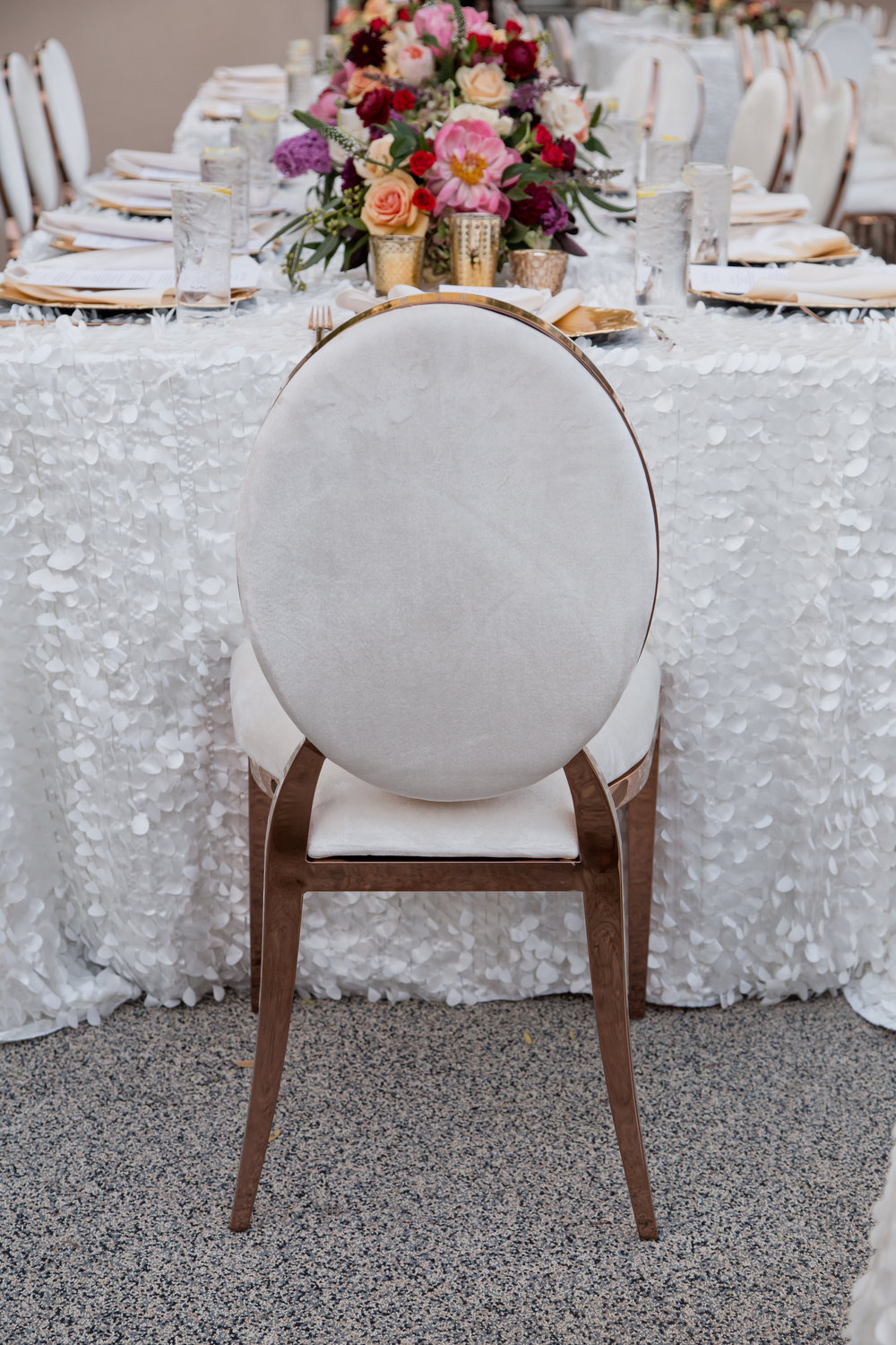 White and gold luxe wedding chair.  Destination Wedding Planner  Andrea Eppolito  · Photos by  Adam Frazier Photography  · Floral and Decor by  Destinations by Design  ·  Lighting by  LED Unplugged  · Venue  · Invitations  Ceci New York   ·  Menus by  Alligator Soup