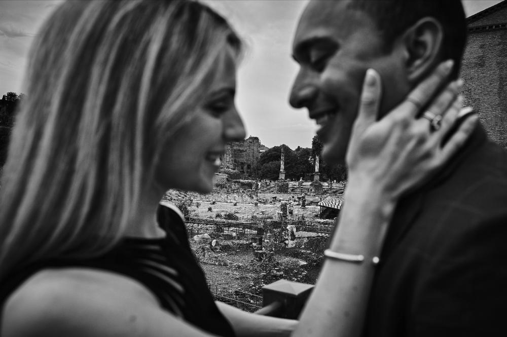 Black and white engagement photos in Italy.  Destination wedding planner Andrea Eppolito. Engagement photos in Italy.   Italian Imagery by D2 Photography.