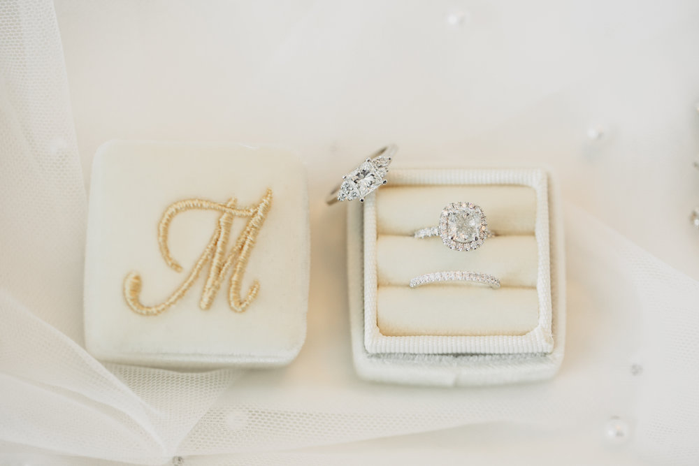 Luxury Destination Wedding Planning and Event Design by  Andrea Eppolito Events  · Photos by  Stephen Salazar  ·Monogrammed Ring Box.