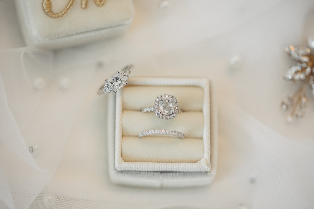 Luxury Destination Wedding Planning and Event Design by  Andrea Eppolito Events  · Photos by  Stephen Salazar  · Diamond engagement ring and wedding band in mongorammed ring box.