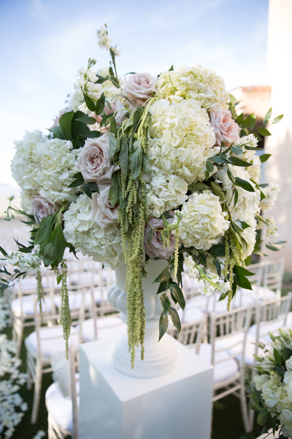 www.adnreaeppolitoevents.com  |  Luxury Destination Wedding Planning and Event Design by  Andrea Eppolito Events  · Photos by  Stephen Salazar  · Flowers by  Naakiti Floral  ·  Big ceremony floral piece.