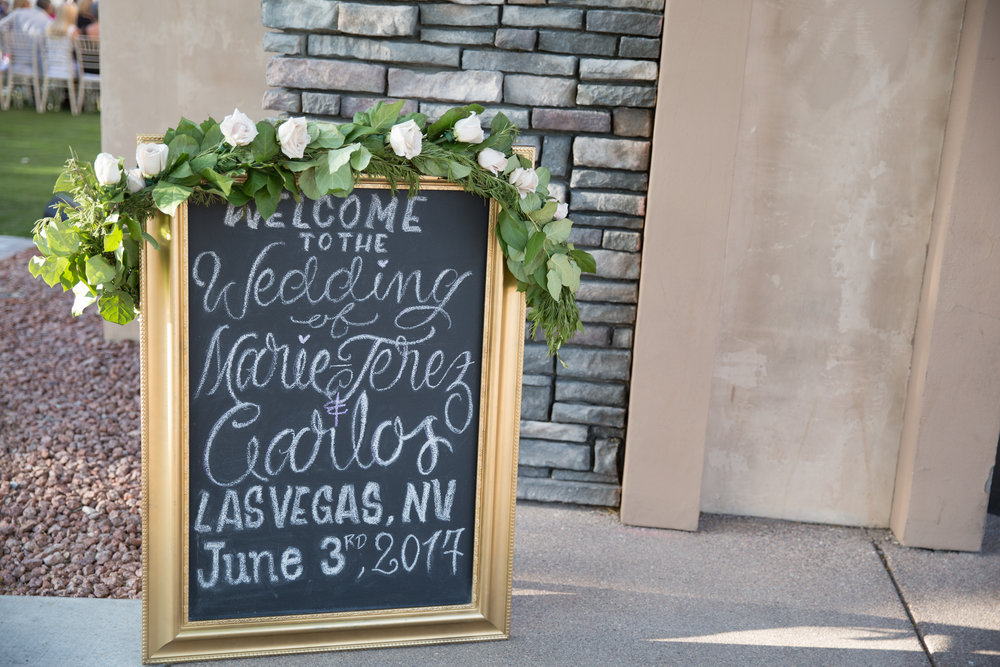 www.adnreaeppolitoevents.com  |  Chalkboard welcome sign at wedding  ||   Luxury Destination Wedding Planning and Event Design by  Andrea Eppolito Events  · Photos by  Stephen Salazar  · Flowers by  Naakiti Floral  ·  Rentals by RSVP · Lighting by  LED Unplugged   · Venue  Paiute Golf Course .  Dress by  Berta  · Shoes by  Jimmy Choo .