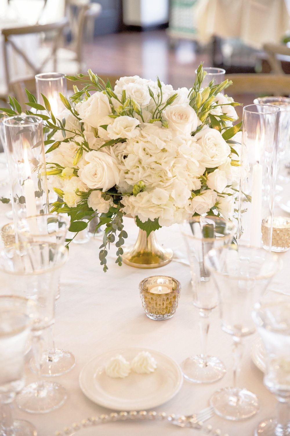 Petite White and Green Wedding Centerpiece  |  Luxury Destination Wedding Planning and Event Design by  Andrea Eppolito Events  · Photos by  Stephen Salazar  · Flowers by Naakiti Flora.