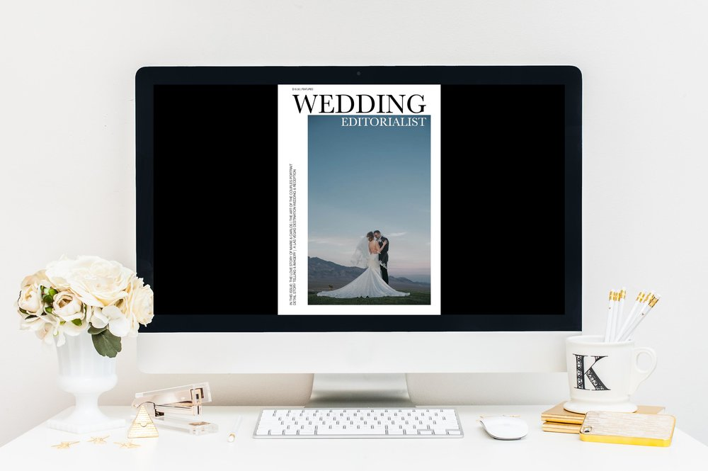 Cover of the personalized wedding magazine at www.weddingeditorialist.com