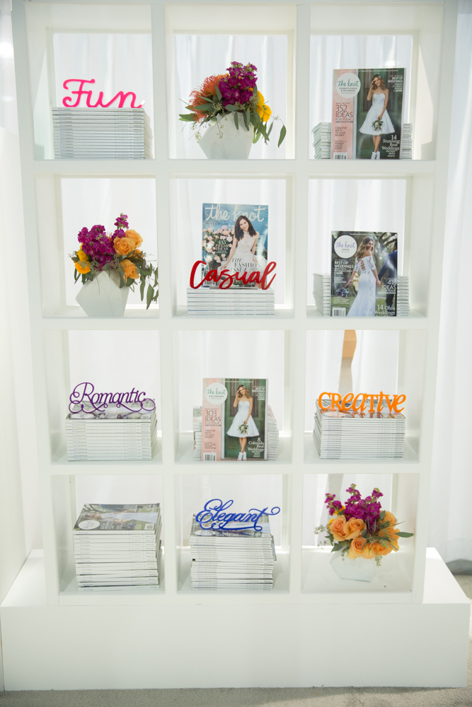 Magazine Display.  Las Vegas Wedding Planner Andrea Eppolito.  Booth and Event Design by Destinations by Design.  Photos by Stephen Salazar.