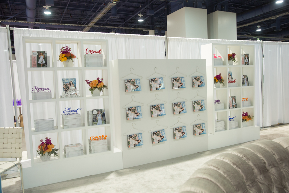 We just had to do the magazines on hangers again!  Las Vegas Wedding Planner Andrea Eppolito.  Booth and Event Design by Destinations by Design.  Photos by Stephen Salazar.