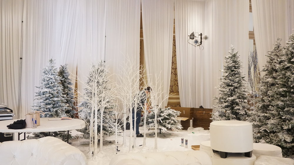 Behind the scenes Russian winter wonderland wedding at Bellagio Las Vegas.  Produced by Las Vegas Wedding Planner Andrea Eppolito.