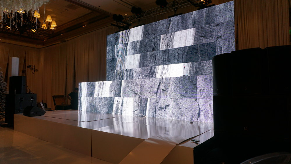 LED Wall.  Behind the scenes Russian winter wonderland wedding at Bellagio Las Vegas.  Produced by Las Vegas Wedding Planner Andrea Eppolito.