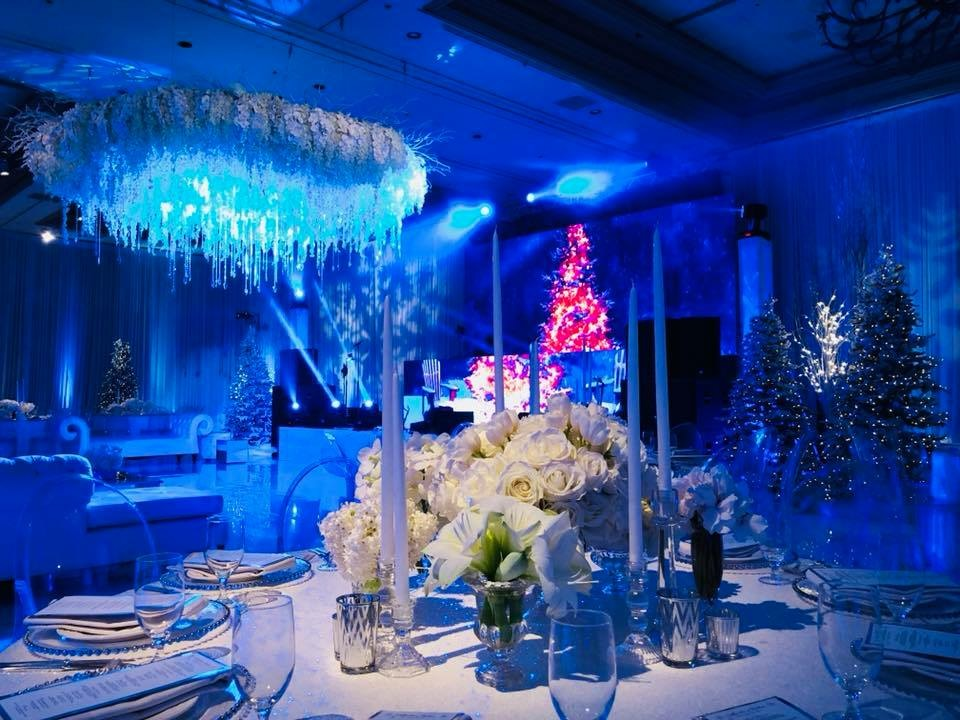 Luxe Christmas wedding.  LED Wall. Behind the scenes Russian winter wonderland wedding at Bellagio Las Vegas.  Produced by Las Vegas Wedding Planner Andrea Eppolito.