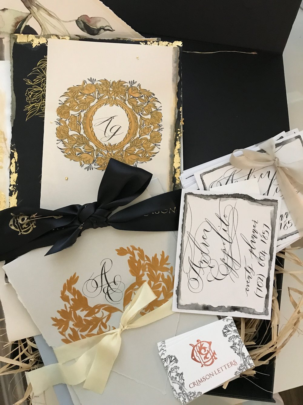 Luxury wedding planner Andrea Eppolito received a box of bespoke stationery from British Designer Crimson Letters. Created by Crimson Letters.  Las Vegas Wedding Planner www.AndreaEppolitoEvents.com