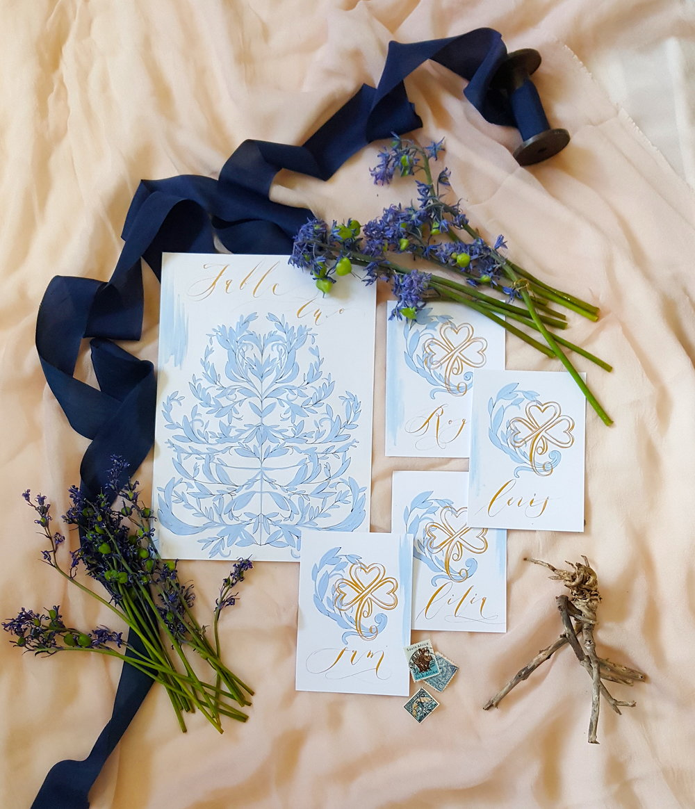 Blue and gold wedding invitations. Wedding Stationery by Crimson Letters.  Wedding Planner www.andreaeppolitoevents.com.