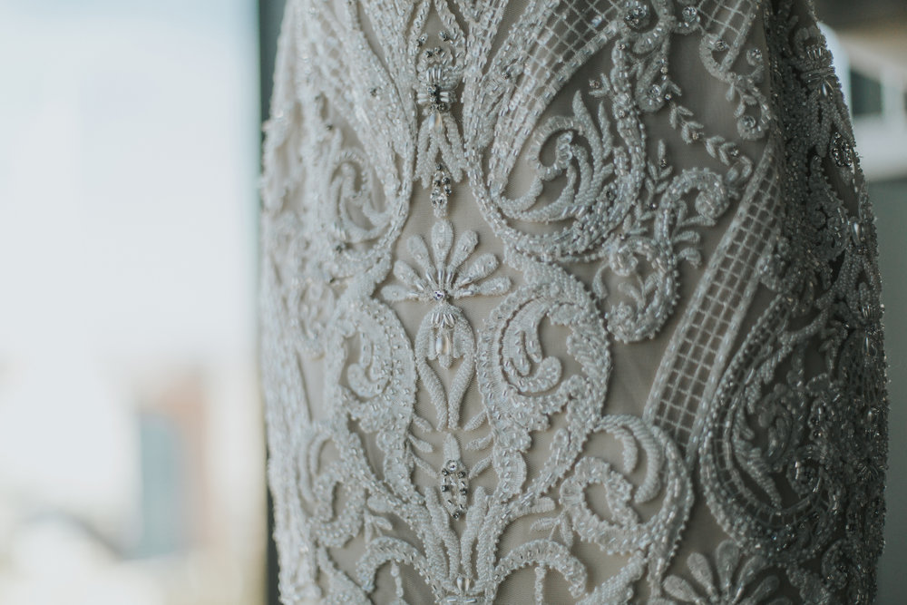 Badly Mischka lace and beaded wedding dress