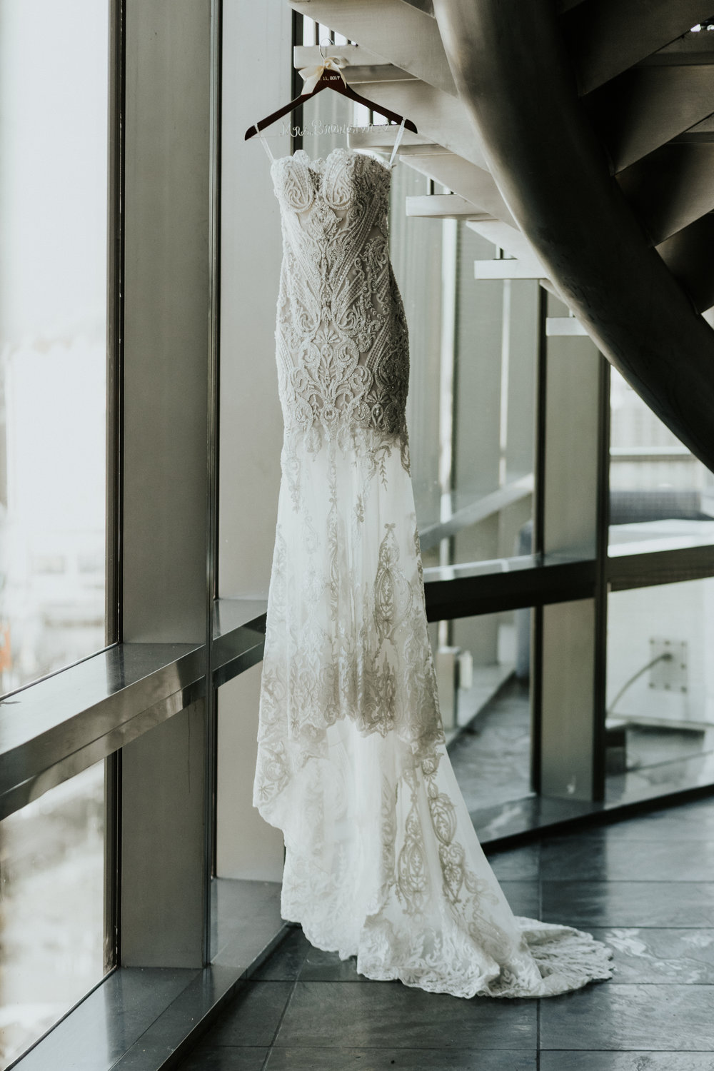 Strapless lace beaded Badgley Mischka Wedding Dress