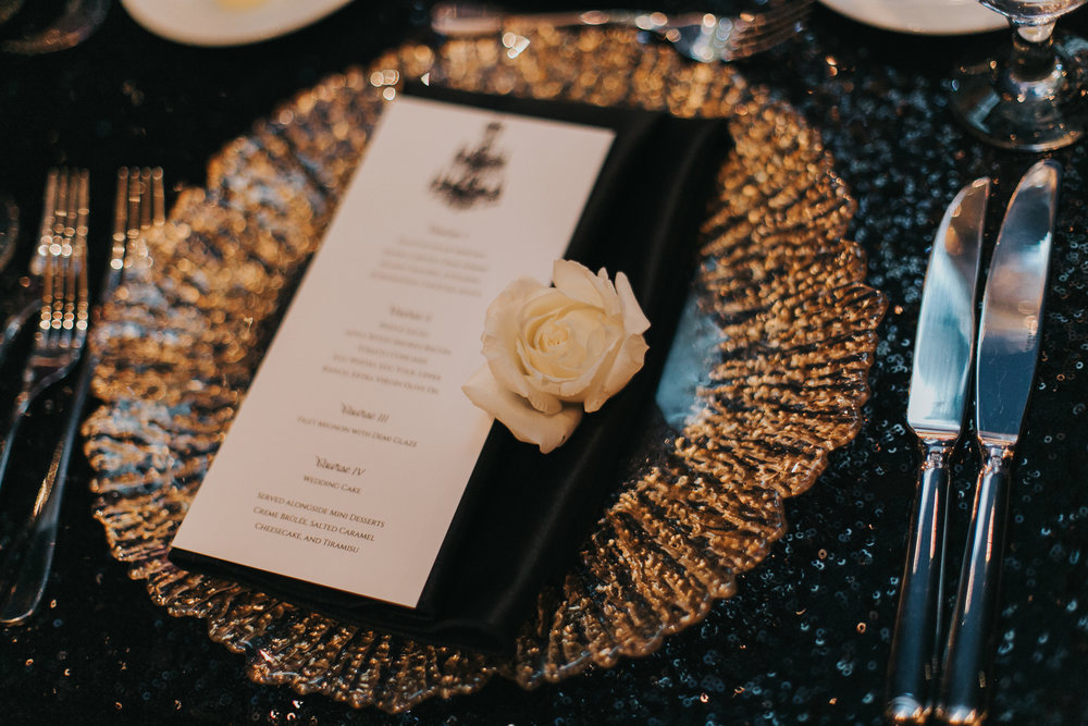 Luxe Black and Gold Place Setting