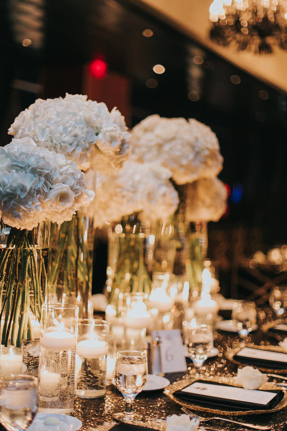 White Hydrangea Centerpieces with Candle Light