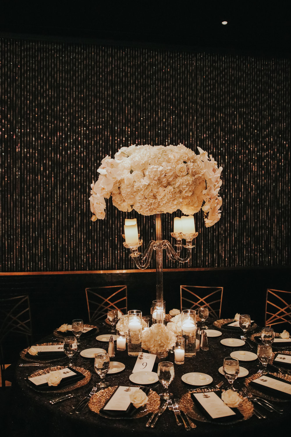 Tall Hydrangea and Orchid Centerpieces