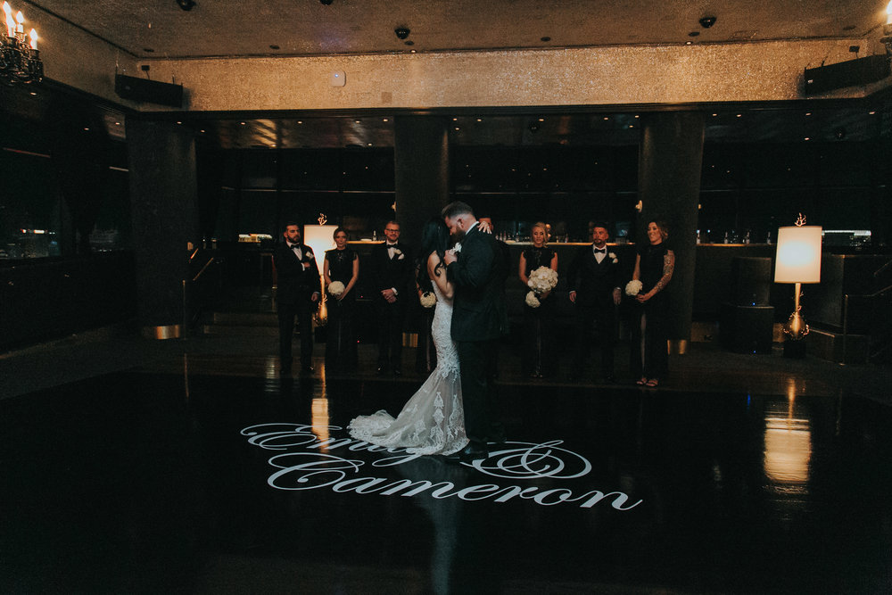 First Dance on Monogrammed Black Dance Floor
