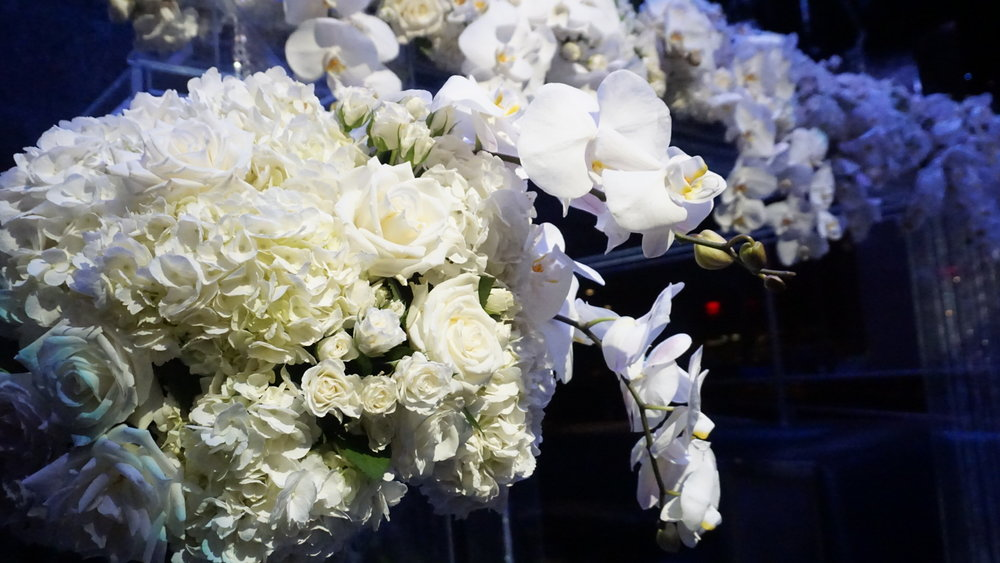 Lush White Flowers at Wedding Ceremony