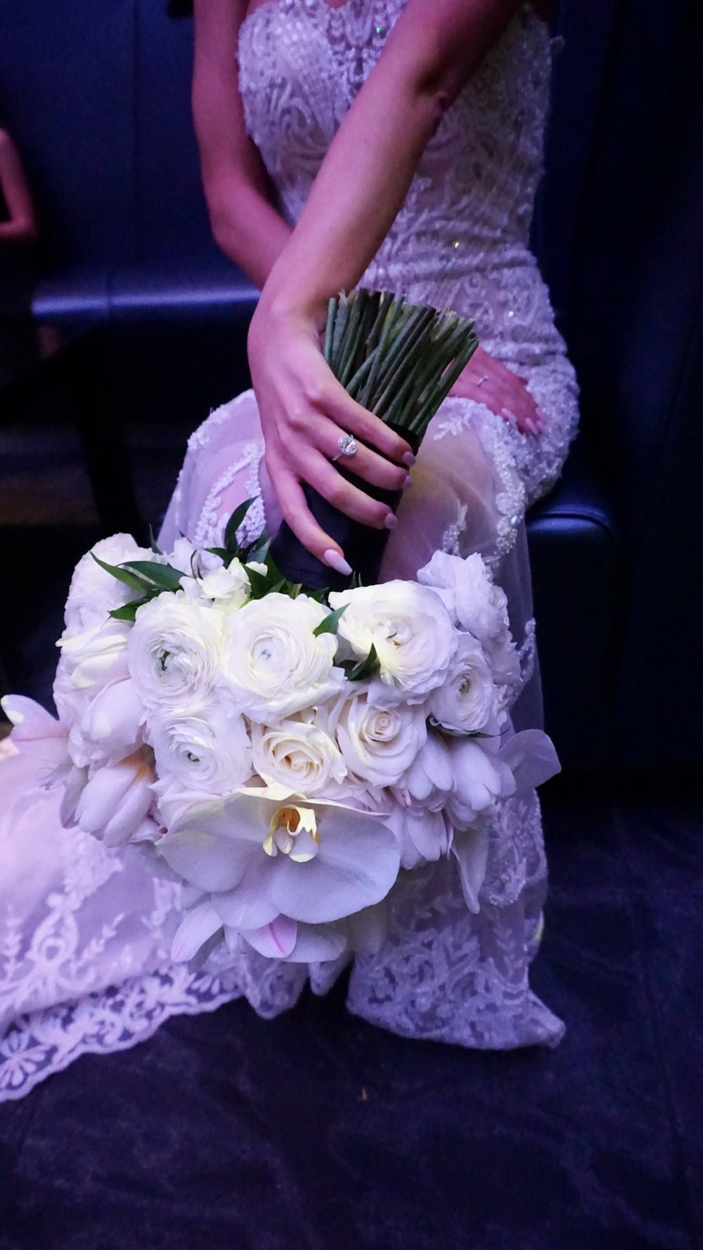 White Rose and Orchid Bouquet