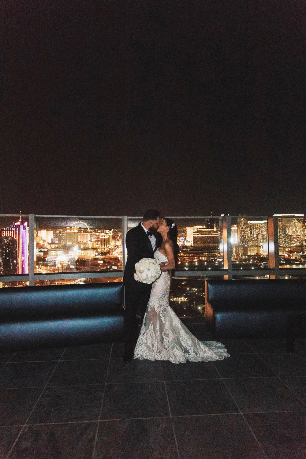 Bride and Groom with Las Vegas Strip View
