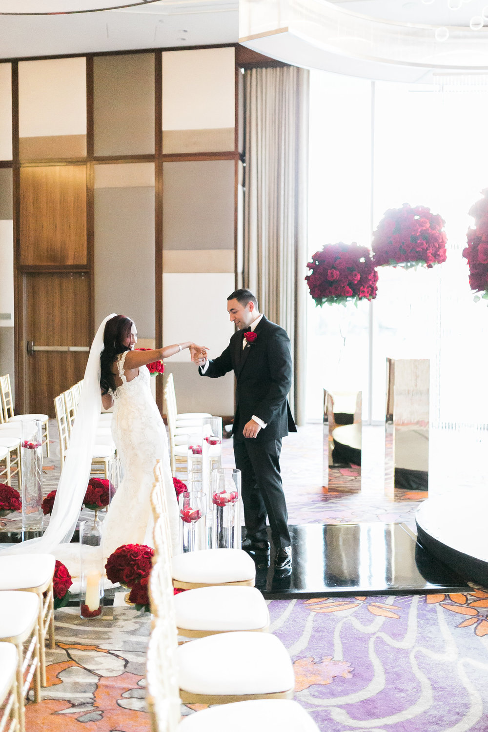 First look at the ceremony space at the Mandarin Oriental.  Las Vegas Wedding Planner Andrea Eppolito shares this multicultural wedding.  Photo by J.Anne Photography.