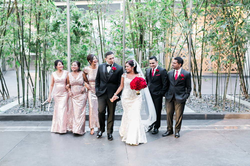 Bridesmaids wore rose gold sequence gowns.   Las Vegas Wedding Planner Andrea Eppolito shares this multicultural wedding.  Photo by J.Anne Photography. Wedding at Mandarin Oriental Las Vegas,