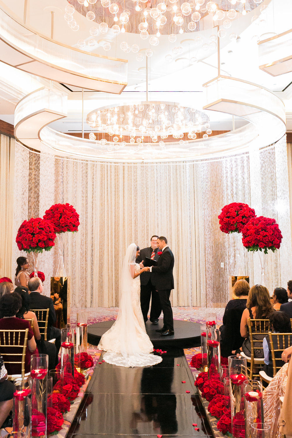 Wedding Vows.  Las Vegas Wedding Planner Andrea Eppolito shares this multicultural wedding.  Photo by J.Anne Photography. Wedding at Mandarin Oriental Las Vegas.  Decor by DBD Vegas.