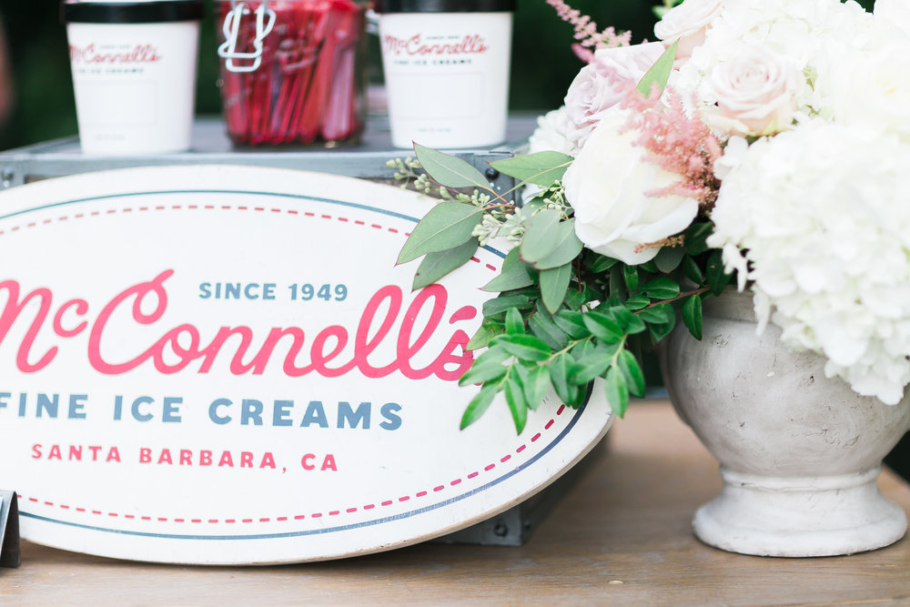 McConnell's Ice Cream served guests at this wonderful Santa Barbara Wedding. Destination Wedding Planner  ANDREA EPPOLITO EVENTS  · Images by  J.ANNE P  HOTOOGRAPHY  · Video  HOO FILMS  · Venue Ritz Carlton Bacara Santa Barbara ·Ice Cream Station  MCCONNELL'S ICE CREAM