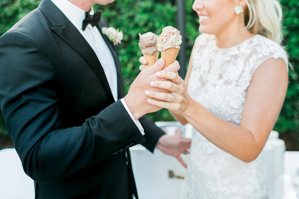 Ice cream cones instead of wedding cake.    Destination Wedding Planner  ANDREA EPPOLITO EVENTS   ·  Images by  J.ANNE P  HOTOOGRAPHY   ·  Video  HOO FILMS   ·  Venue Ritz Carlton Bacara Santa Barbara  · Gown MONIQUE LHULLIER  · Bridesmaids Dresses  SHOW ME YOUR MUMU  · Stationery  SHE PAPERIE  · Bride's Shoes  BADGLEY MISCHKA  · Hair and Makeup  TEAM HAIR AND MAKEUP  · Floral  BLUE MAGNOLIA  · Linen  LA TAVOLA  · Decor Rentals  TENT MERCHANT  · Calligraphy  EBB  ·Lighting  FIVE STAR AV  · Ice Cream Station  MCCONNELL'S ICE CREAM
