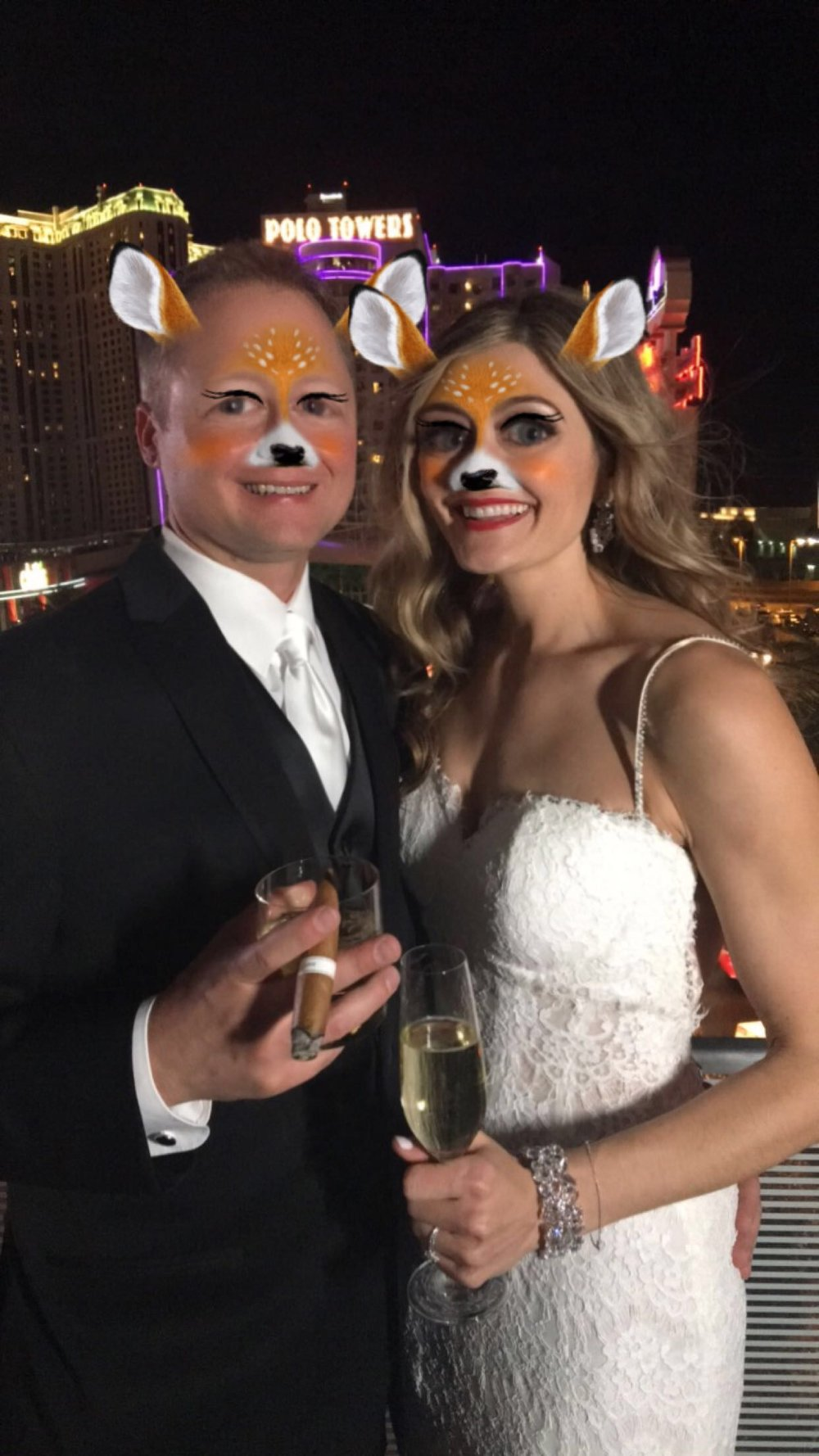 Fun snaps with a bride and groom Snapchat for weddings.