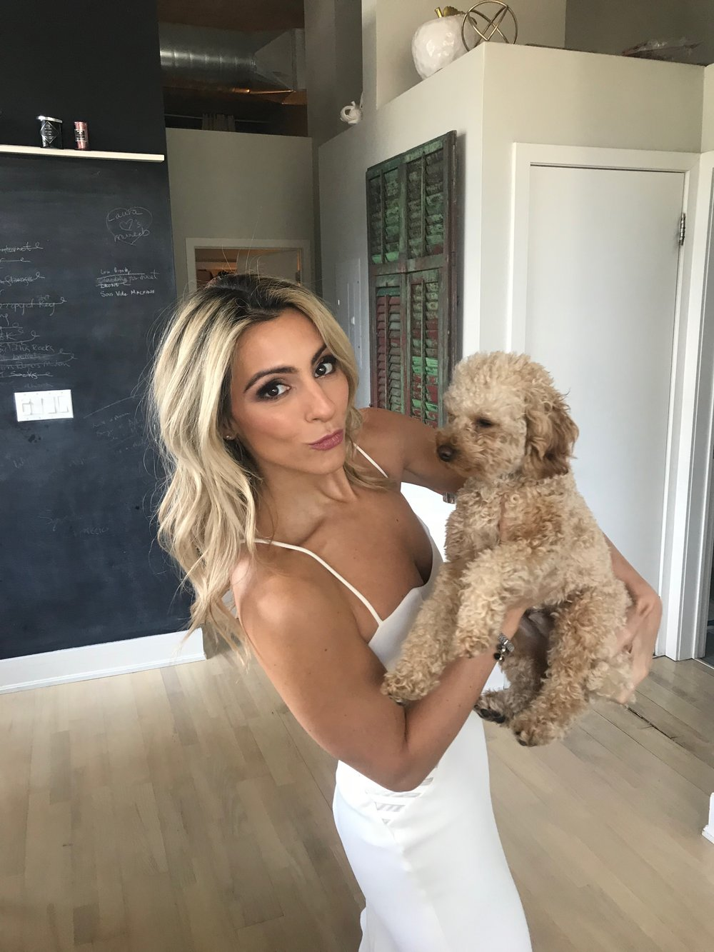 Bride to be with her dog.  Destination Wedding Planner Andrea Eppolito is based in Las Vegas.