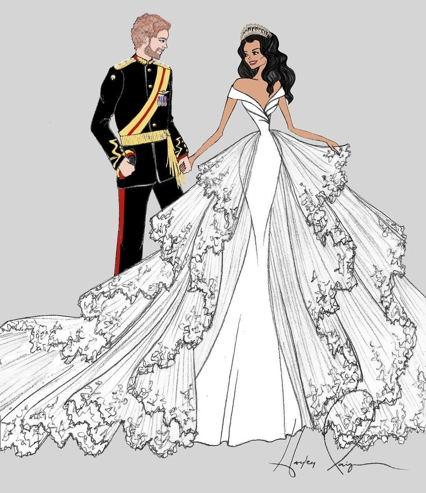 Miss Hayley Paige sketched this dress for Meghan Markle.  As seen on Brides.com.