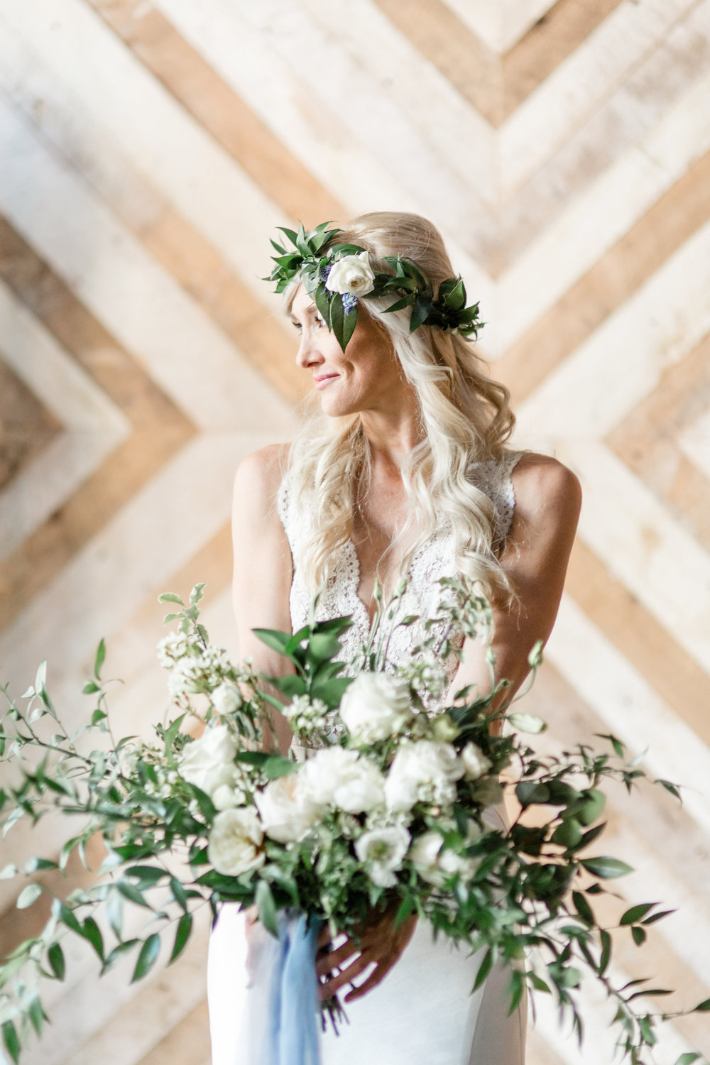 Boho beauty bridal by Elwynn and Cass includes an organic, wild bouquet.  Photo courtesy of http://elwynnandcass.com/