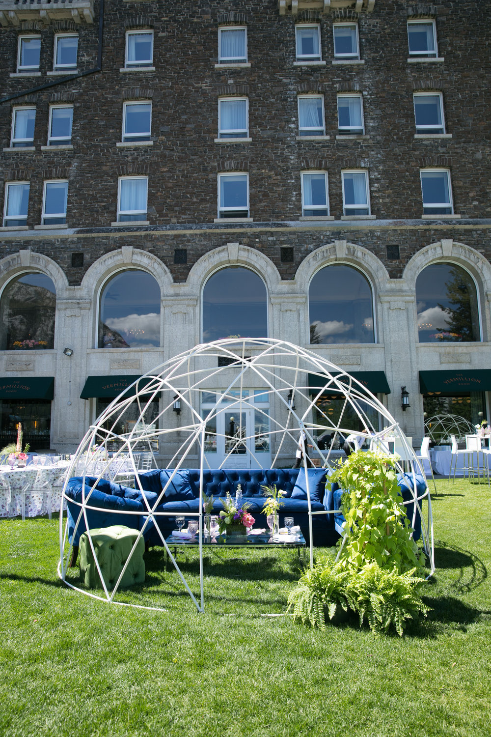 Outdoor globe for special seating. Photo by Paul Morse.