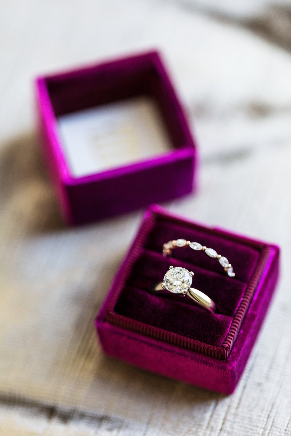 Engagement Ring in Magenta Ring Box. Wedding Planner:  Andrea Eppolito Events  |   Photography  Brian Leahy   |  Videography  HOO Films   |  Venue & Catering:  Mandarin Oriental  / Waldorf Astoria |  Floral & Decor:  Destinations by Design    |  Lighting:  LED Unplugged  |  Music:  DJ Breeze II   |  Hair & Make Up:  Amelia C & Co
