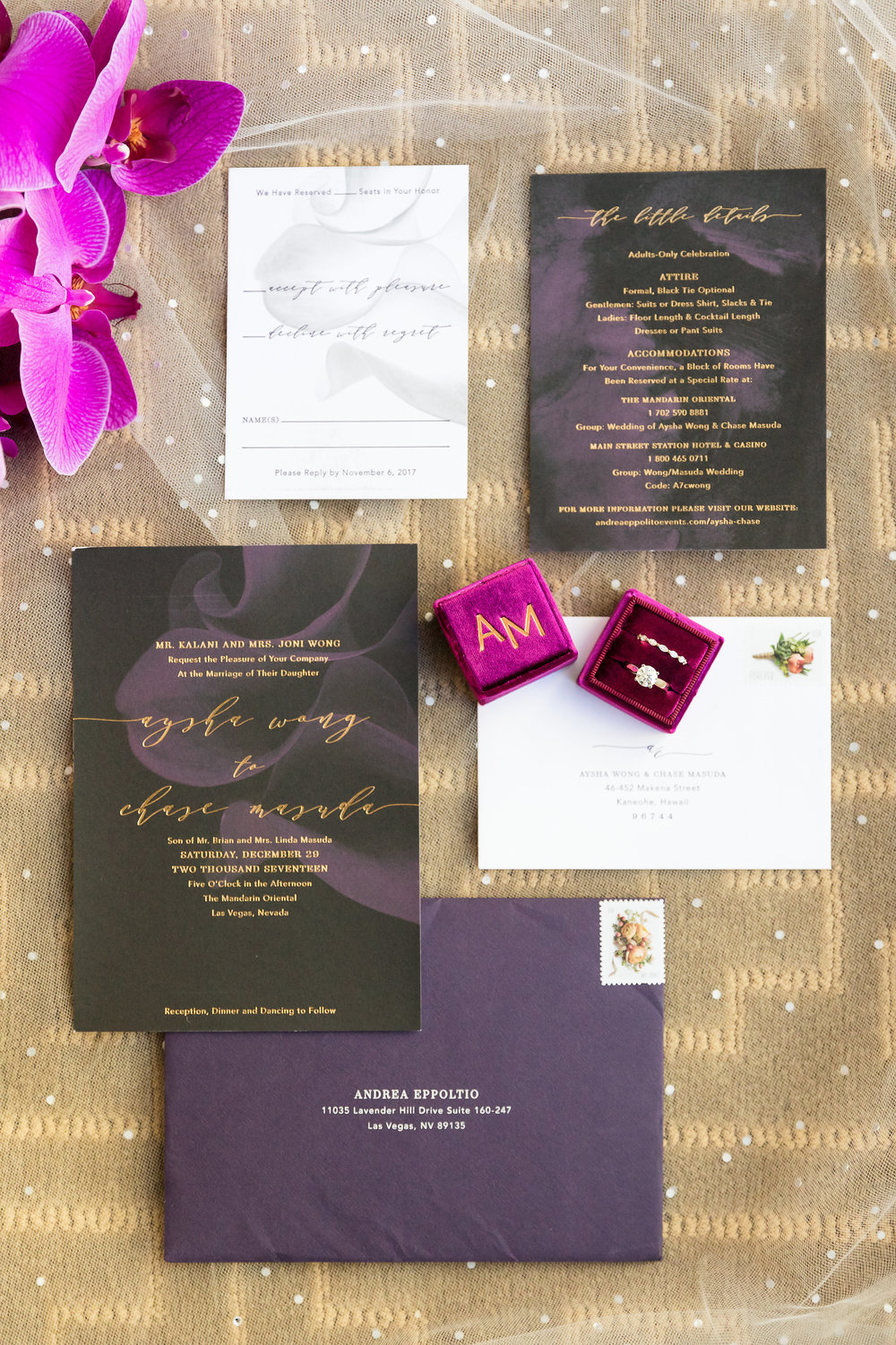 Black and purple invitation suite by Bliss and Bone.  Wedding Planner:  Andrea Eppolito Events  |   Photography  Brian Leahy   | |  Invitations by Bliss and Bone