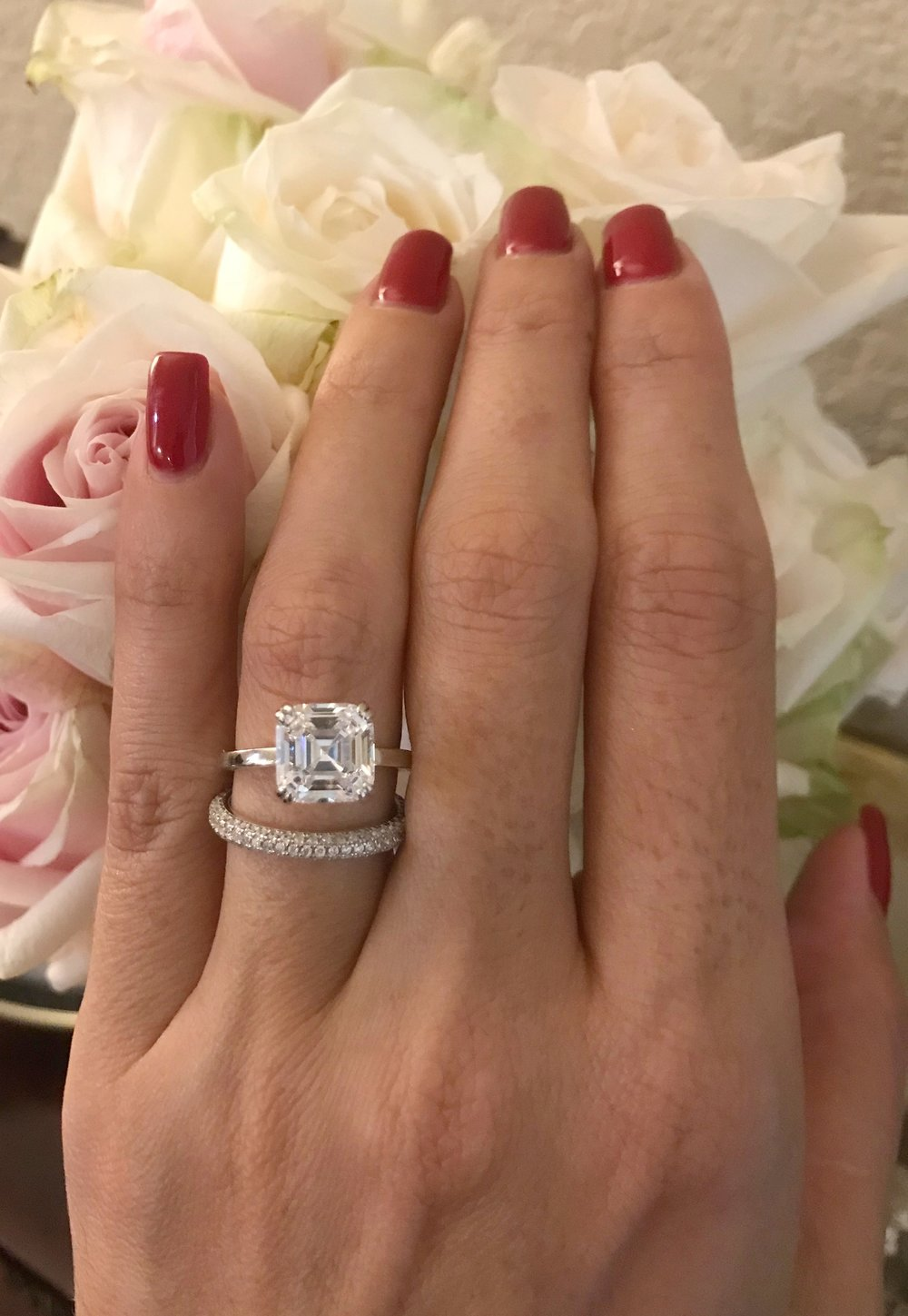 Simulated diamond engagement ring for travel.  Created by Everly Rings.
