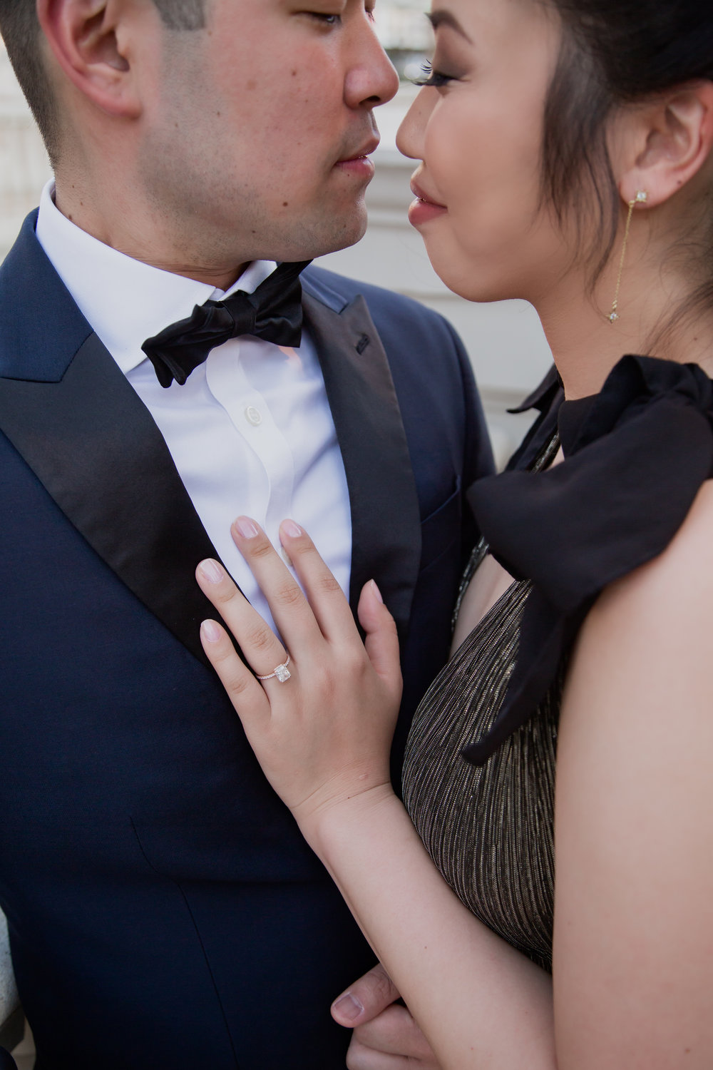 Luxe engagement photos in Las Vegas with an emerald cut engagement ring.  www.andreaeppolitoevents.com. Photo by Adam Frazier