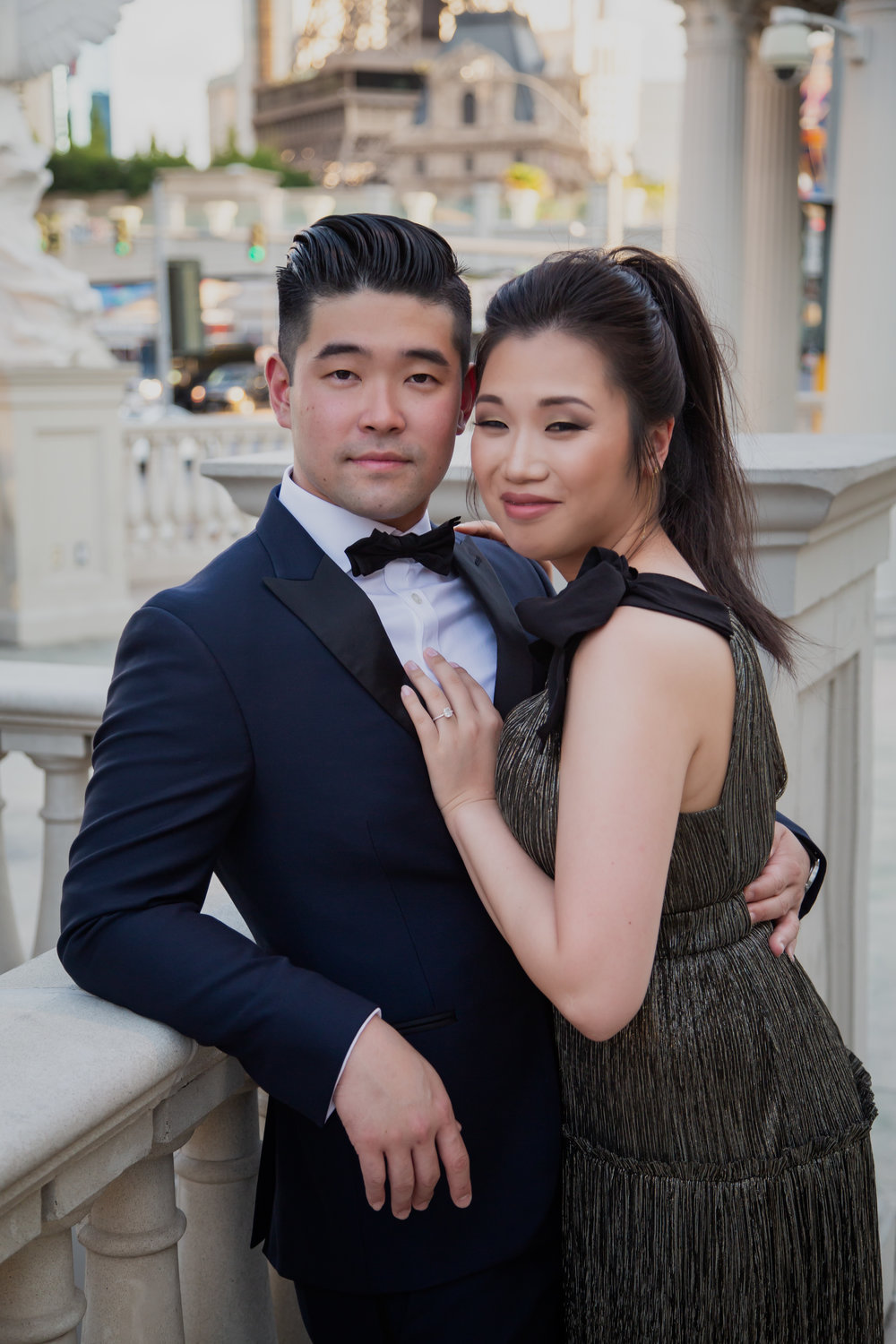 Kent and Jackie will be hosting their wedding at the Waldorf Astoria Las Vegas.  Las Vegas Engagement Photos. Visit Wedding Planner www.andreaeppolitoevents.com to learn more! Photo by Adam Frazier.