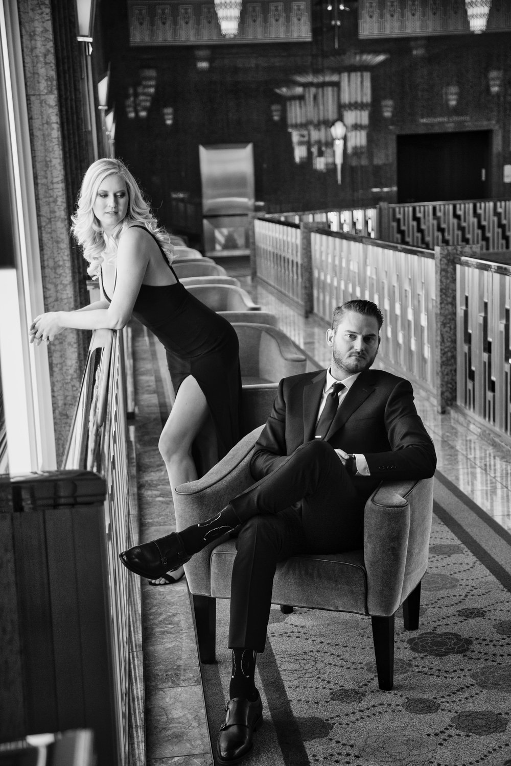 Black and white engagement photos at The Smith Center Las Vegas. www.andreaeppolitoevents.com