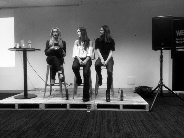 The girls speaking at 'Young & Lost'. From Left: Erika, Jess, Bree