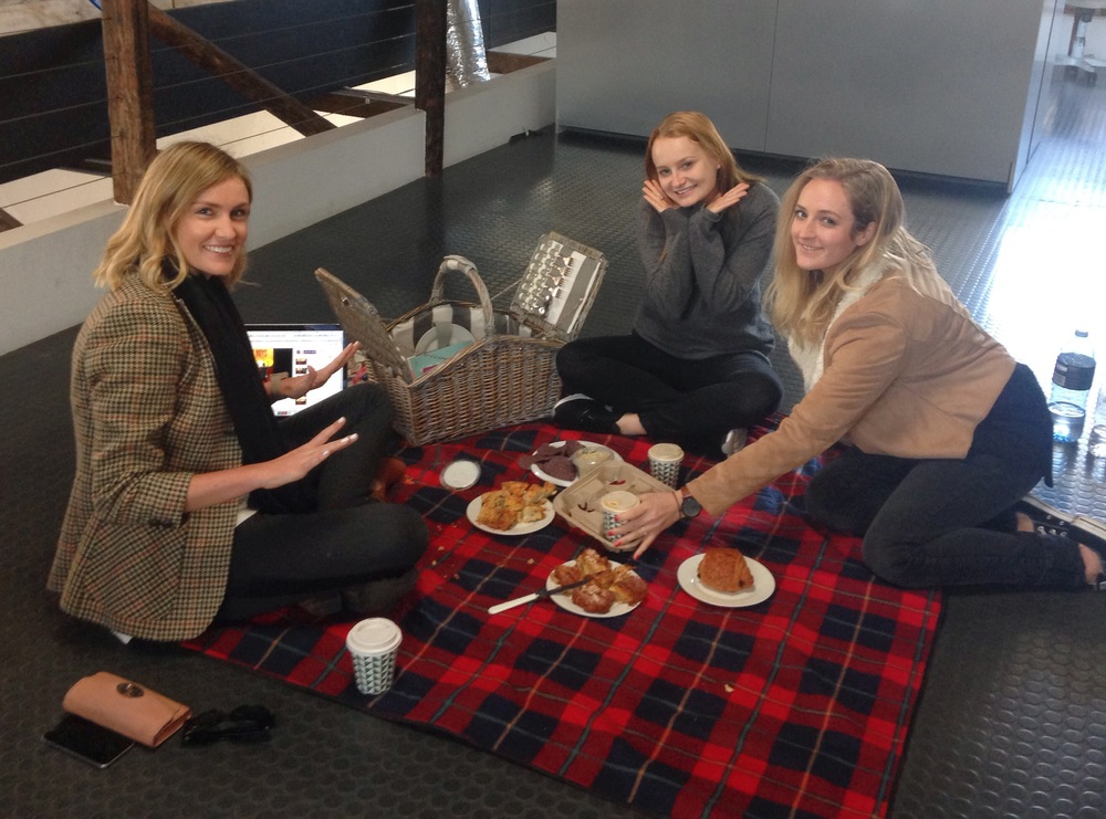 A floor picnic to welcome Creative Coordinator, Jo, to the team!